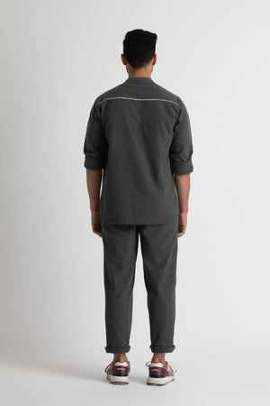 Front Pocket Shirt- Lead grey melange