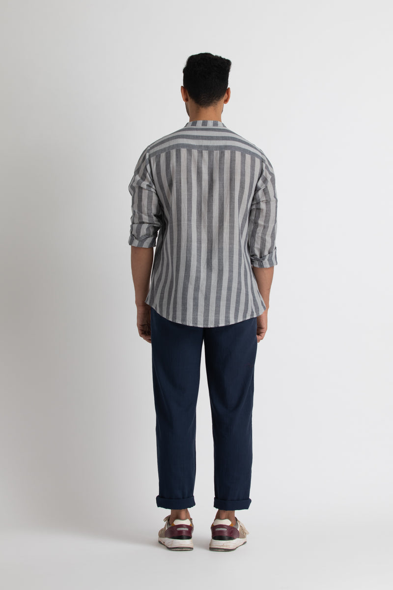 Band Collar Shirt- Navy/Grey stripe