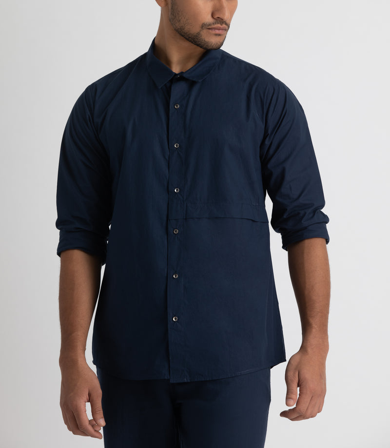 Front Pocket Shirt Co-ord - Navy