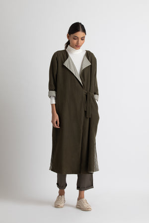side tie trench-olive