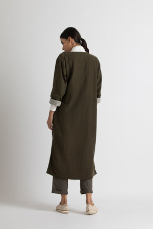 side tie trench co-ord-olive