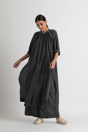 gather neck shirt co ord- melange