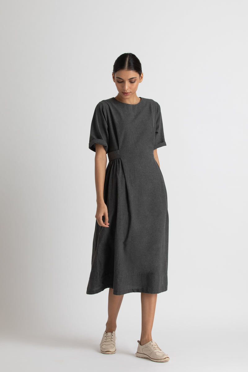 Side gather dress-co-ord melange