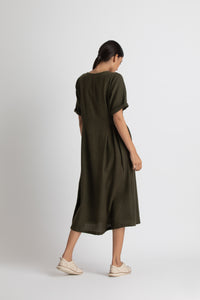 Side gather dress- Olive