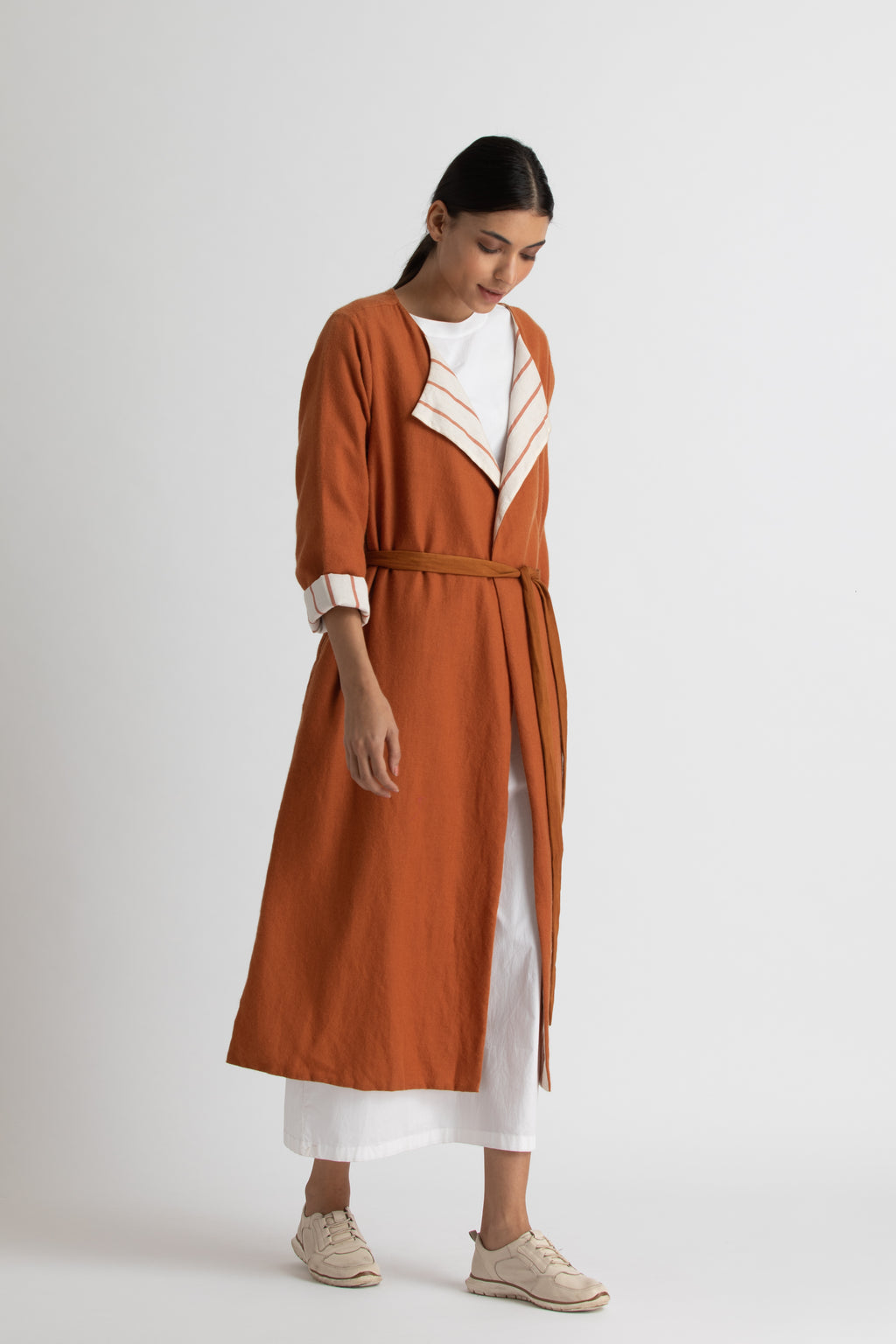 overlap jacket co-ord-rust