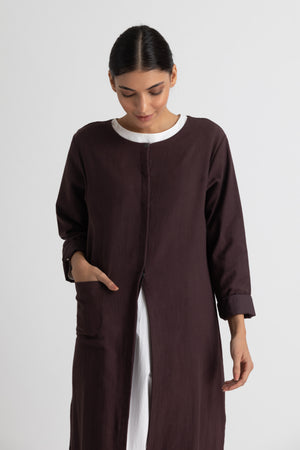 Panel jacket co ord- Plum