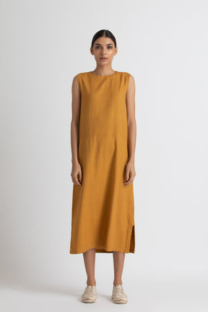 Round neck slip dress - Mustard