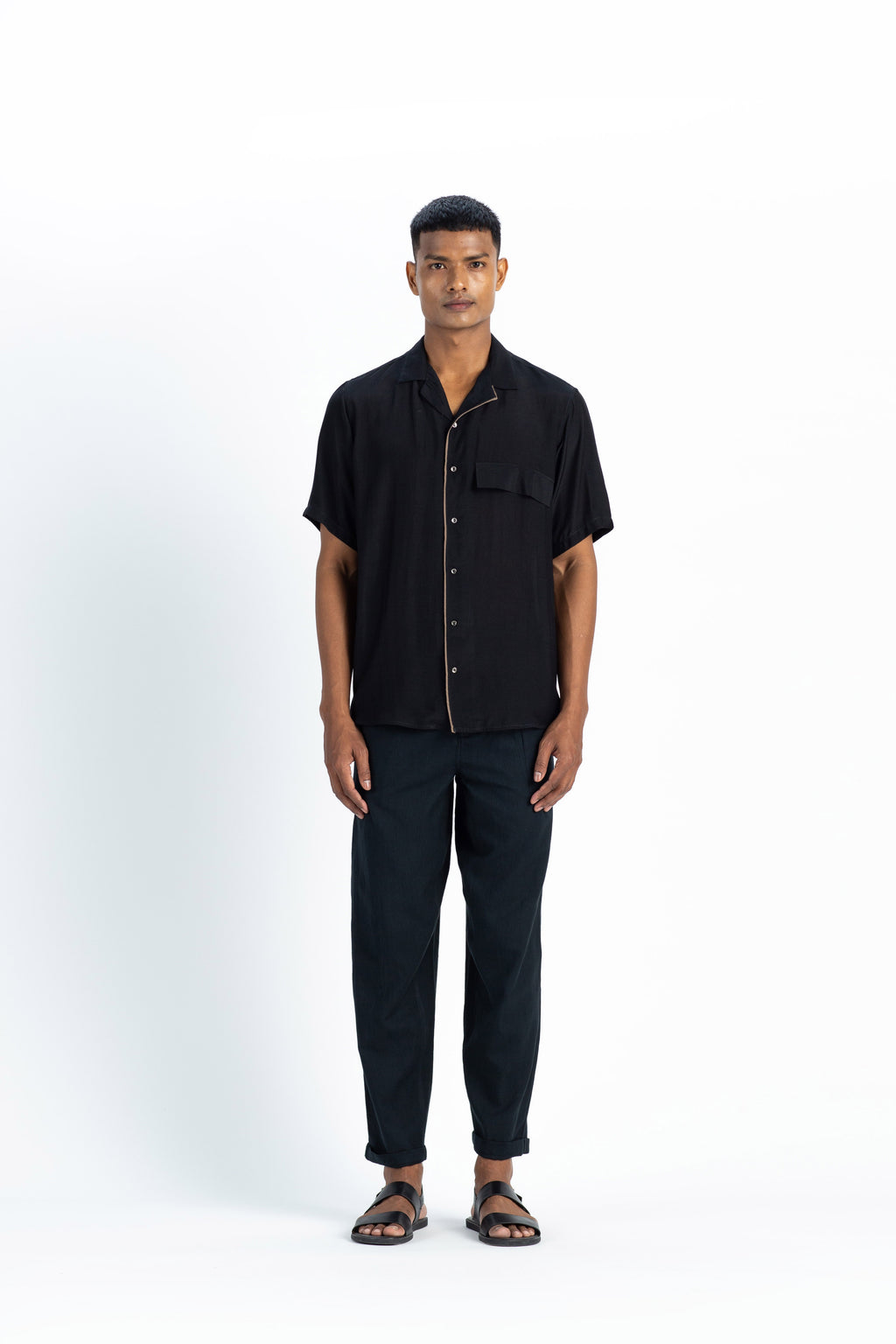 Camp Collar Shirt Co-ord- Black