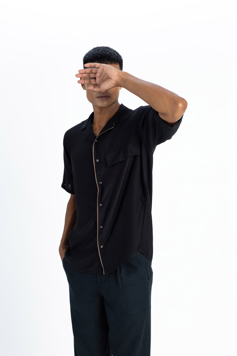 Camp Collar Shirt- Black