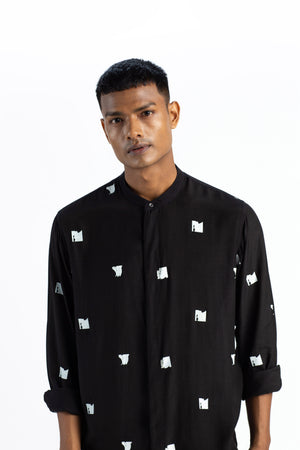 Band Collar Shirt Co-ord- Black