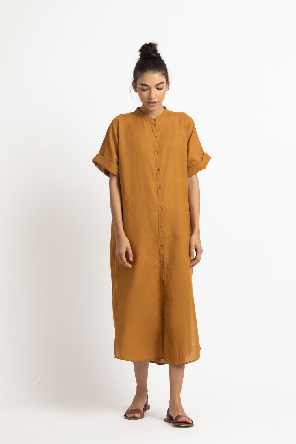 Long Dolman Sleeve Shirt- Mustard