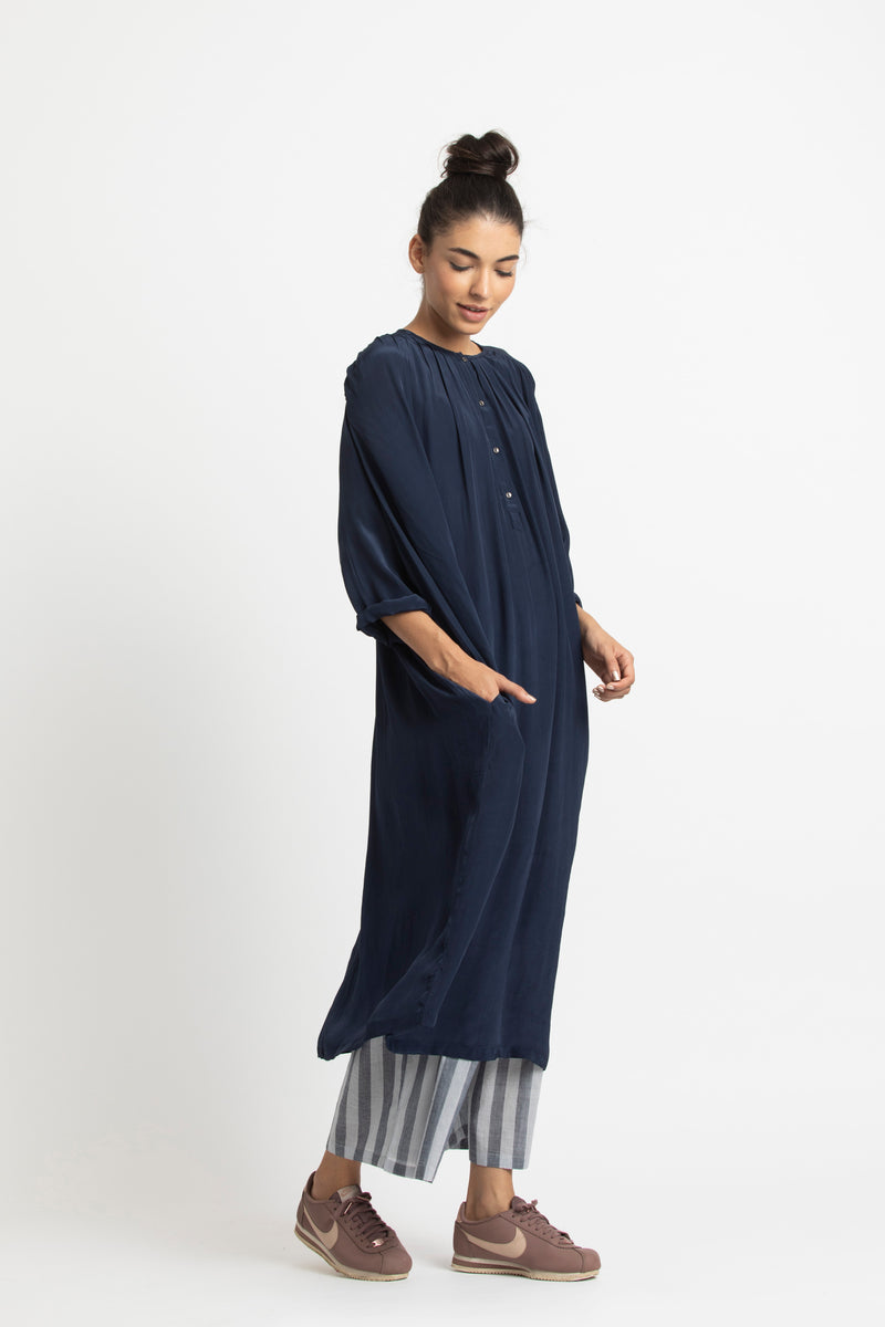 Gather Neck Dress Co ord-Navy