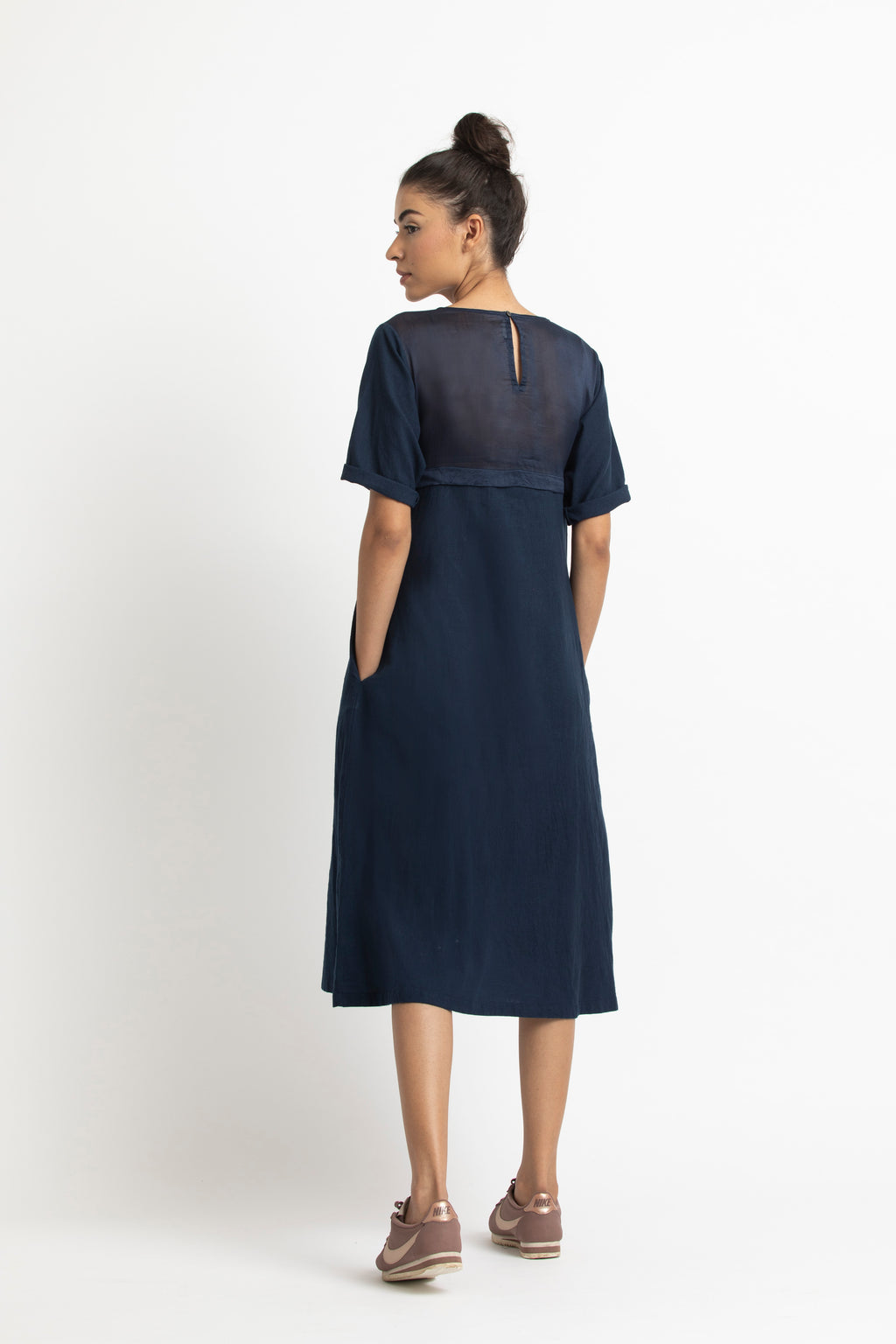 Yoke-Gathered Dress- Navy
