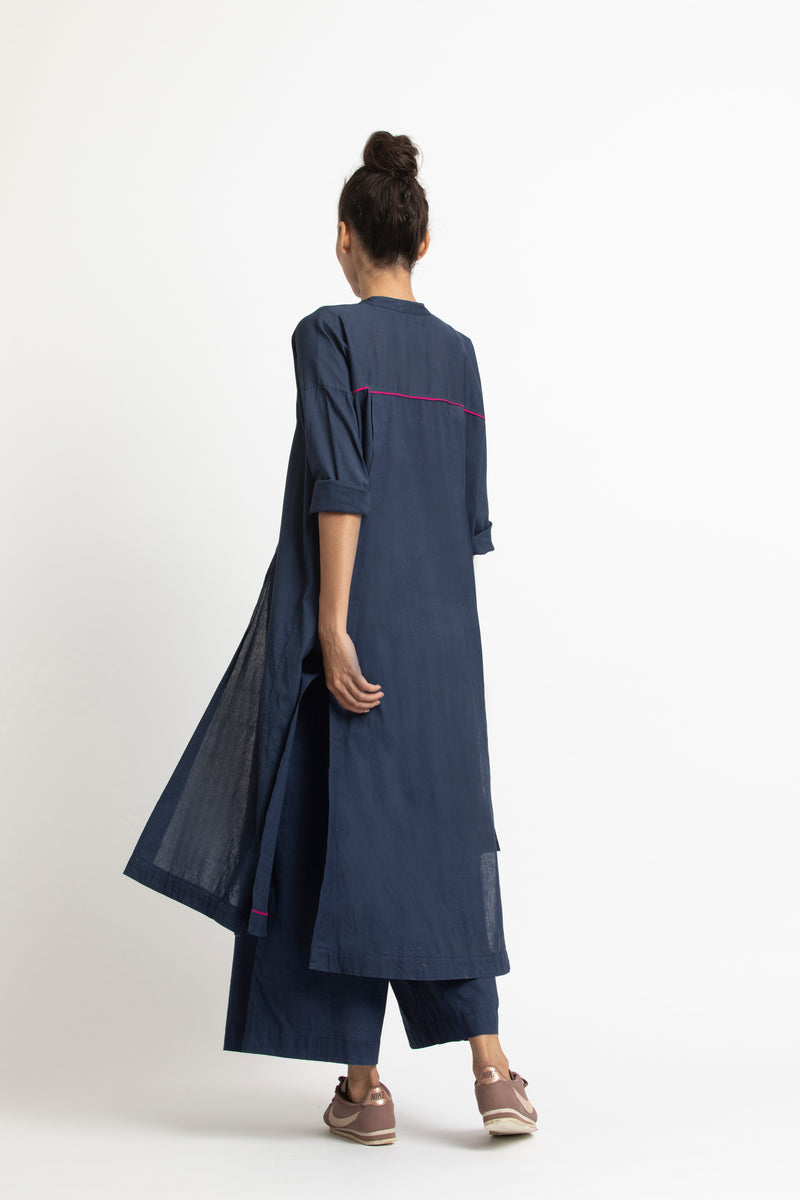 Panel Slit Shirt Co ord- Navy
