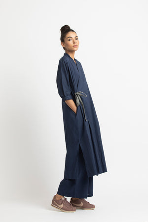 Pintuck Side Knot Jacket- Navy