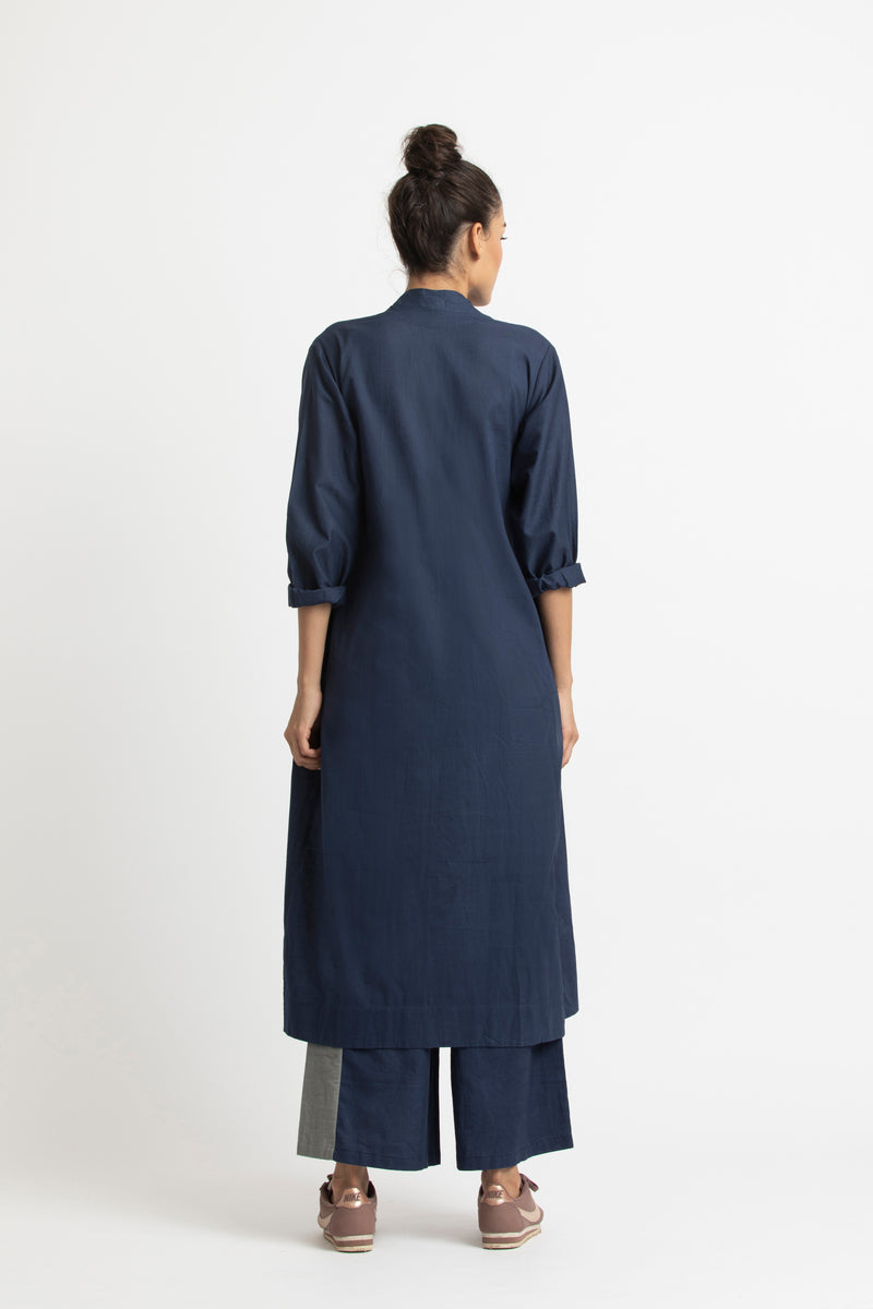 Pintuck Side Knot Jacket Co ord-Navy