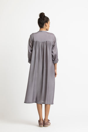 Pleat Dress- Grey