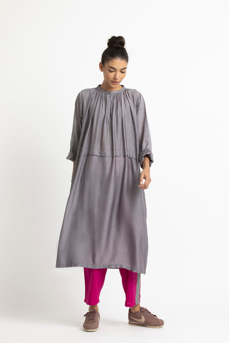 Pleat Dress Co ord- Grey