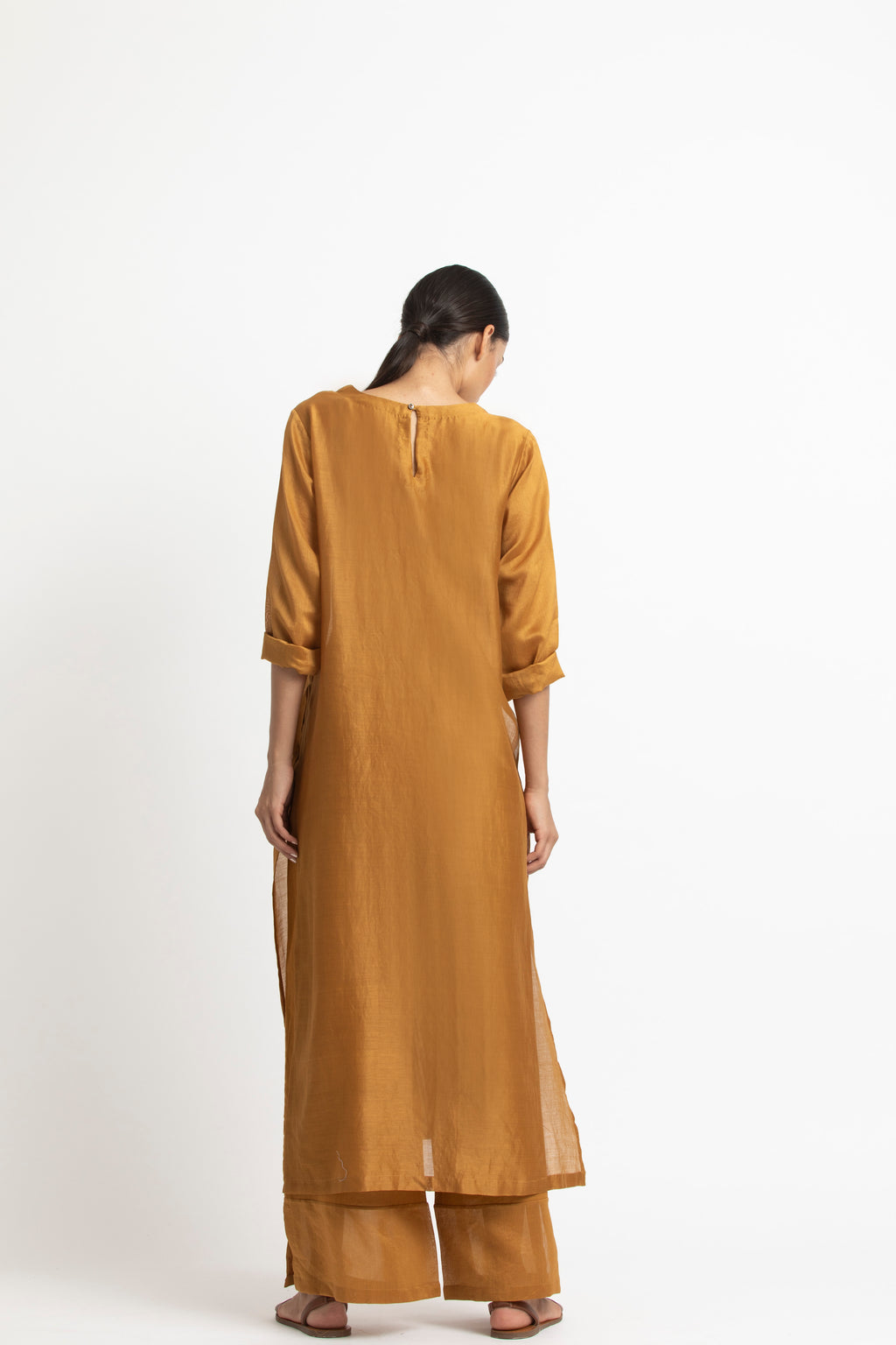 Round Neck Tunic Co-ord-Mustard