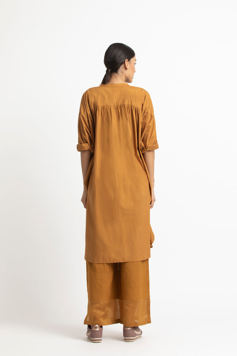 Bat Sleeve Shirt Co-ord-Mustard