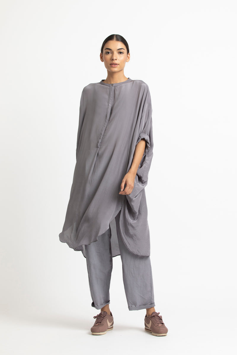 Bat Sleeve Shirt Co-ord-Grey