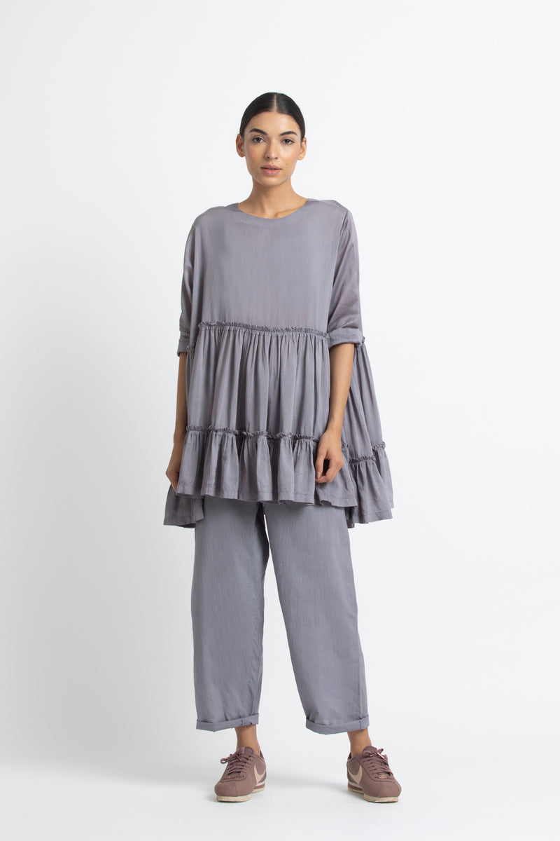 Frill Top Co ord - Grey