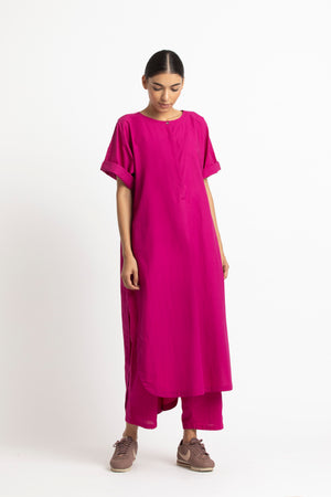 U Shaped Hem Tunic- Fuschia