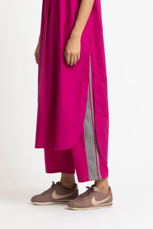 U Shaped Hem Tunic Co ord- Fuschia