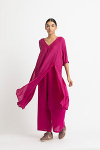 V Neck Panel Slit Co ord - Fuschia