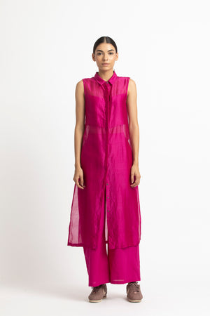 High Slit Sleeveless Shirt Co ord - Fuschia