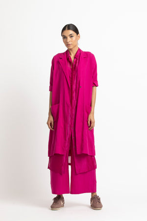 Drop Shoulder Jacket- Fuschia