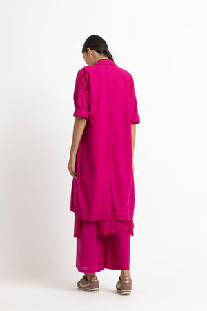 Drop Shoulder Jacket Co ord- Fuschia