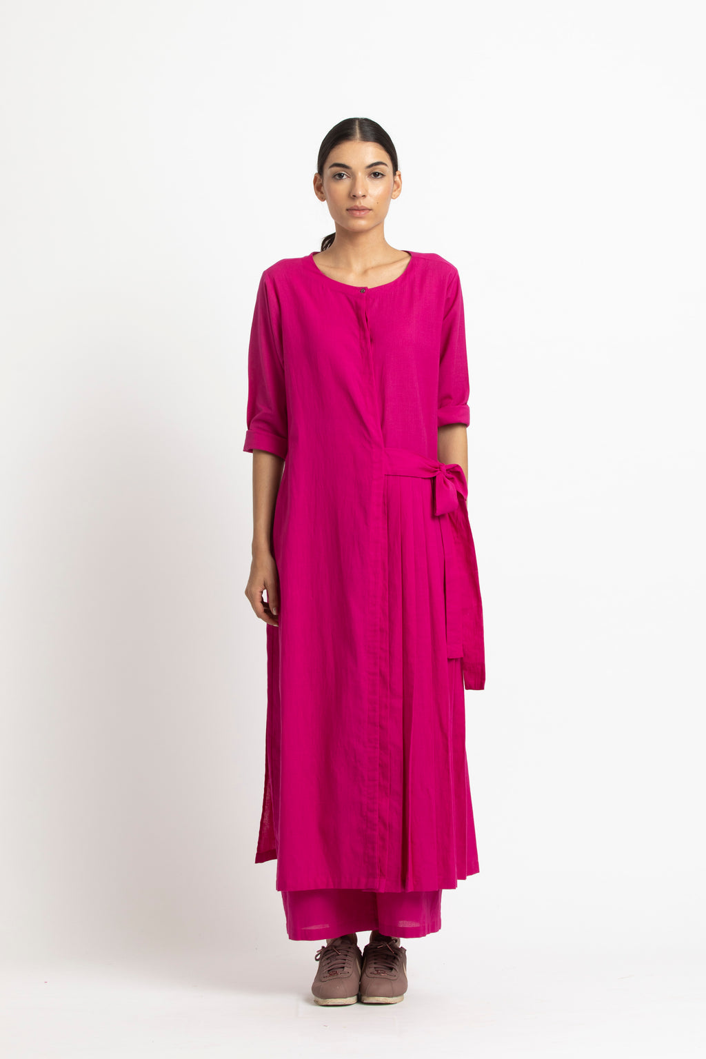 Front Pleat Jacket Co ord- Fuschia