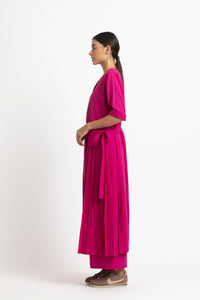 Front Pleat Jacket- Fuschia