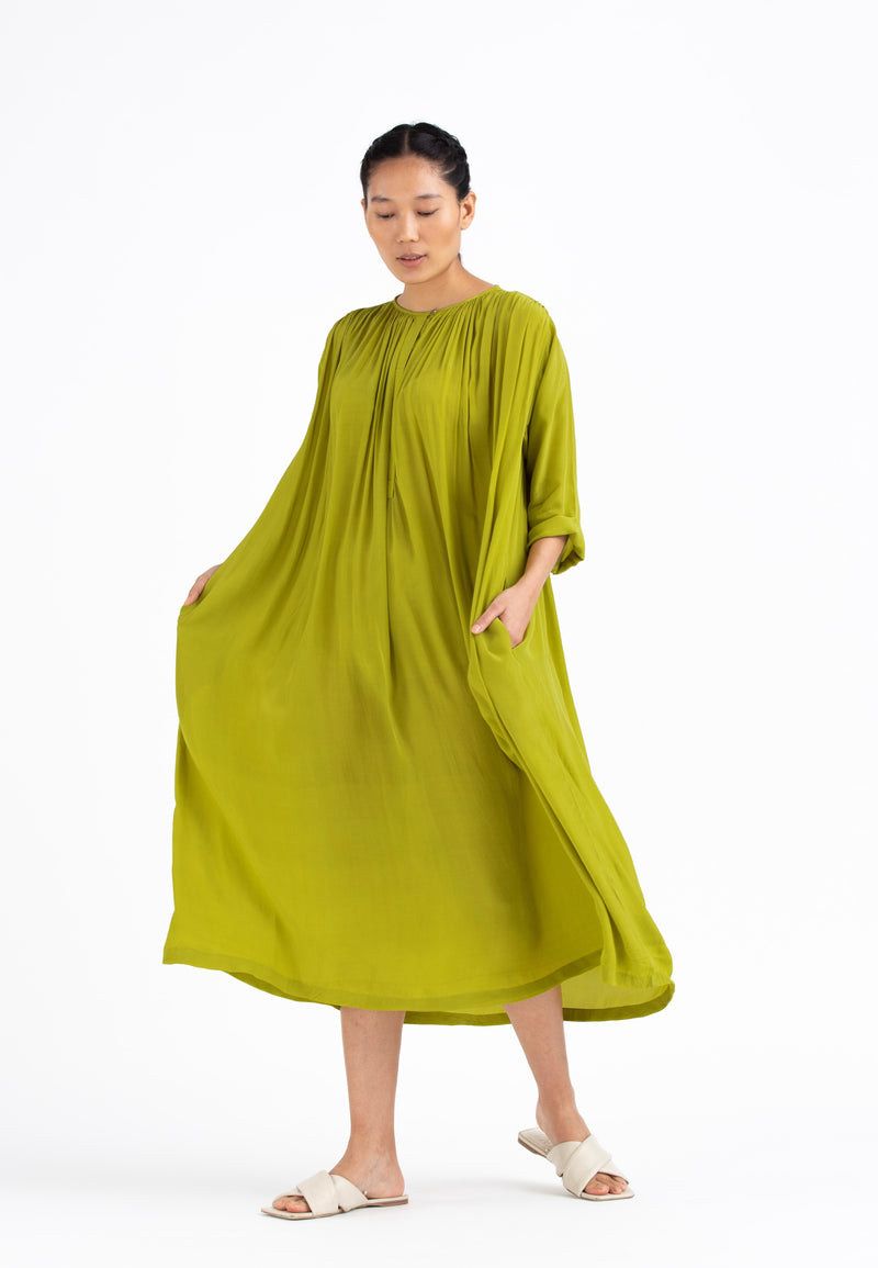Gather Neck Dress Co-ord- Lime