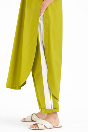 U Shaped Hem Tunic Co-ord-Lime
