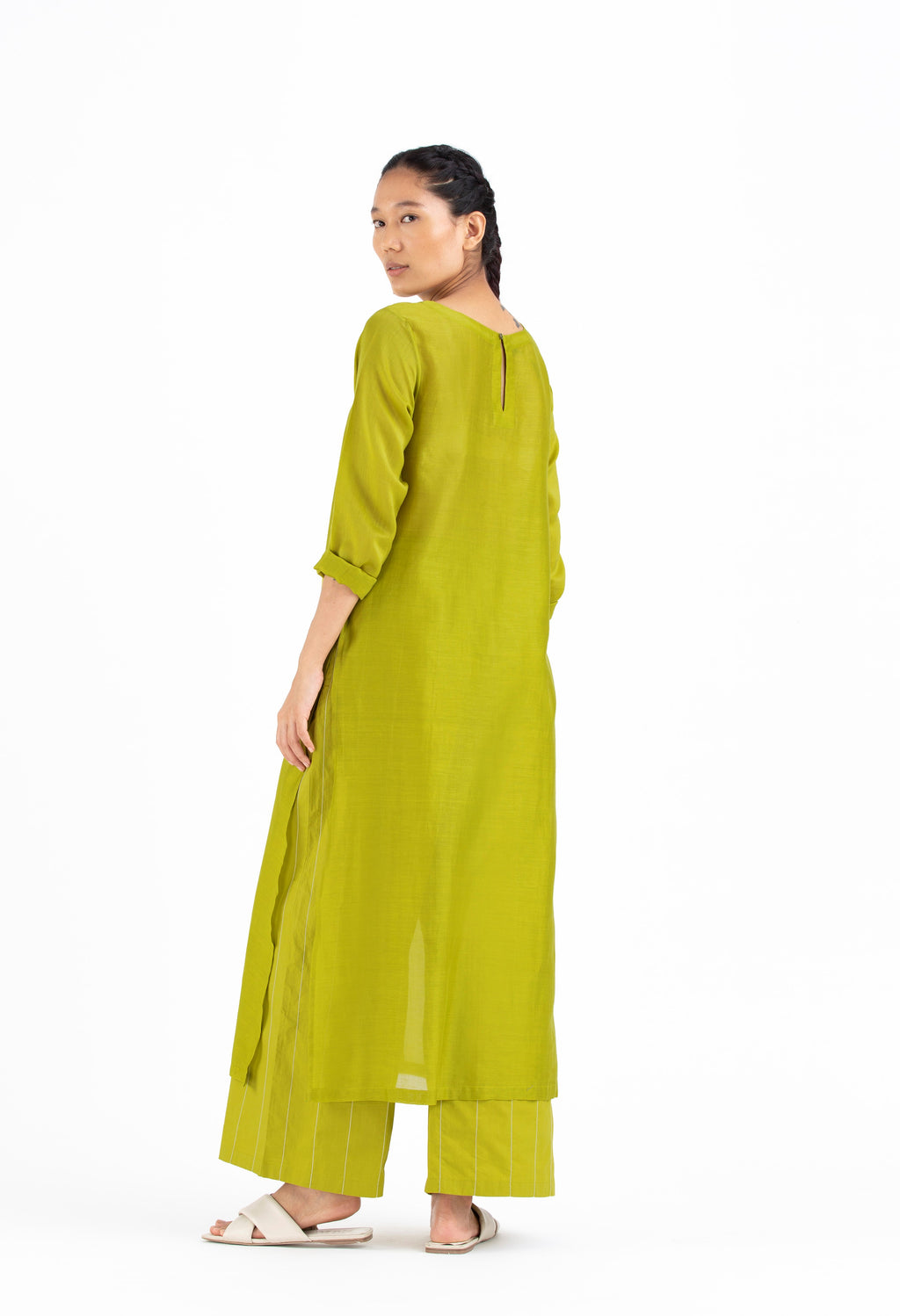 Round Neck Tunic Co-ord-Lime