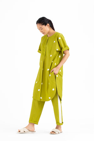U Yoke Kurta Co-ord-Lime