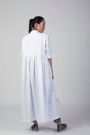 White Back Gathered Jacket