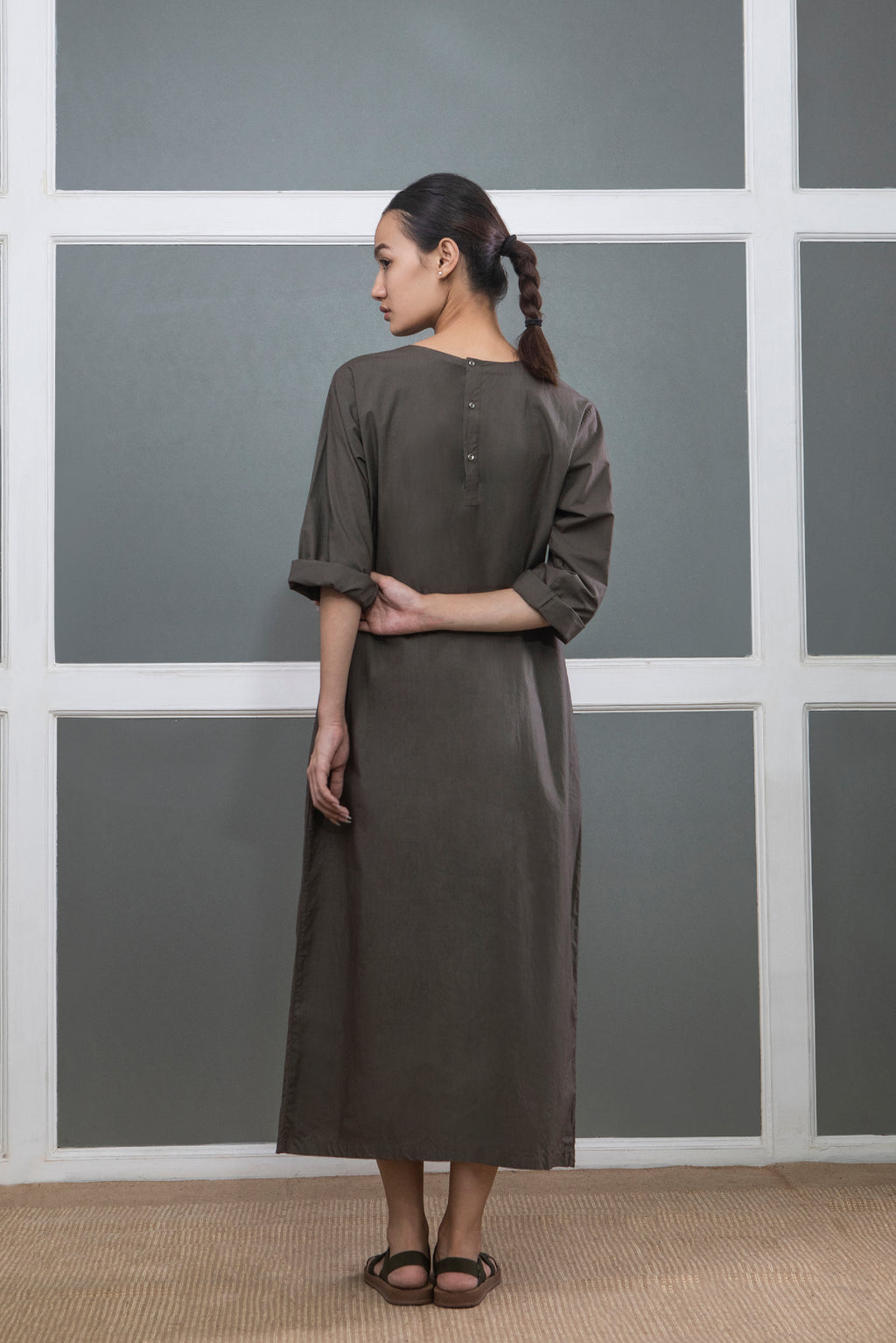 Pintuck Dress- Dark Olive