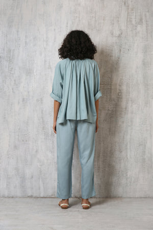 Peasant Top Co-ord- Cloudless blue