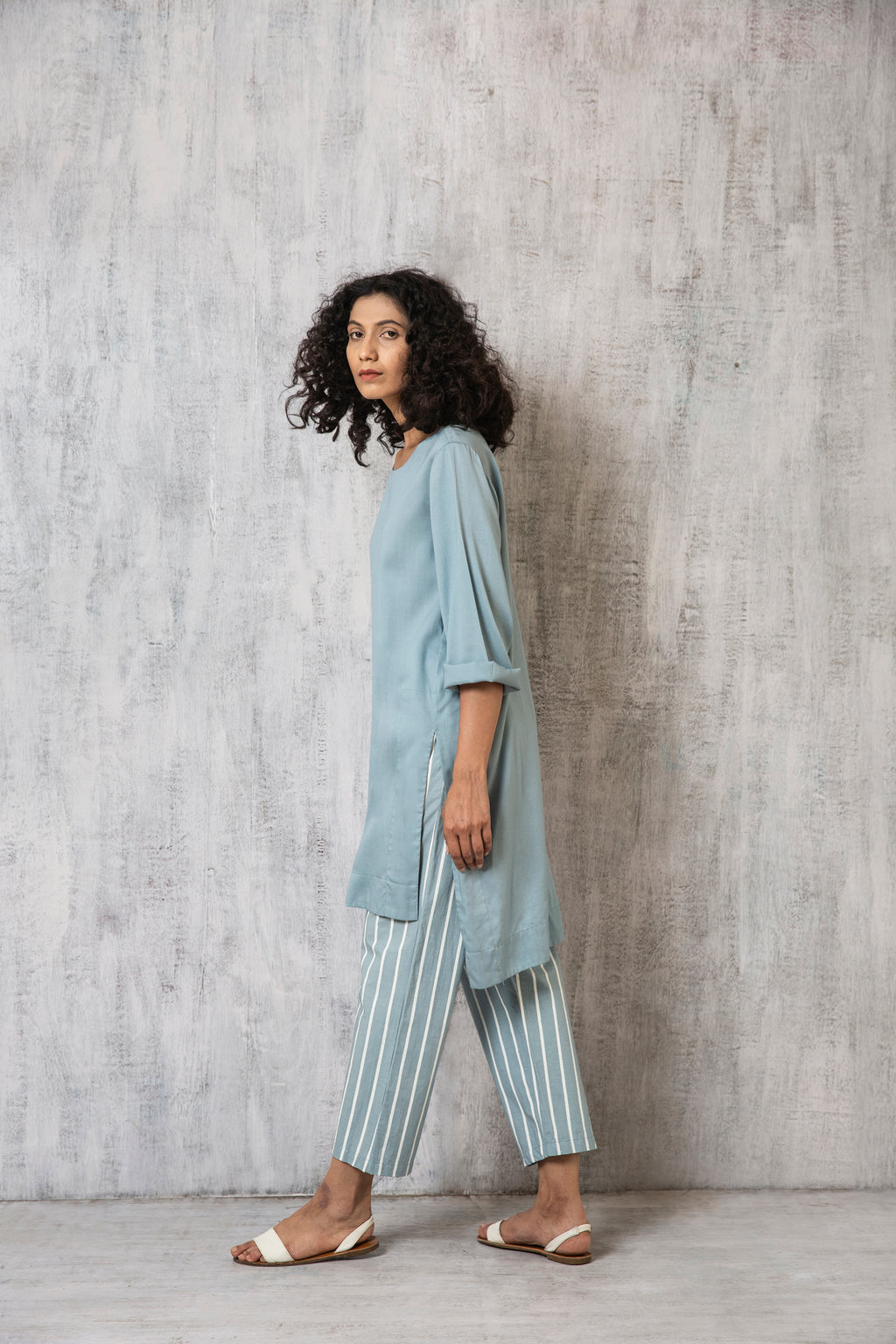 High Slit Top Co-ord- Cloudless blue
