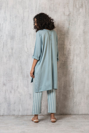 High Slit Top- Cloudless blue