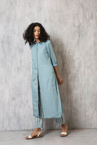 Back pleat Jacket Co-ord- Cloudless blue