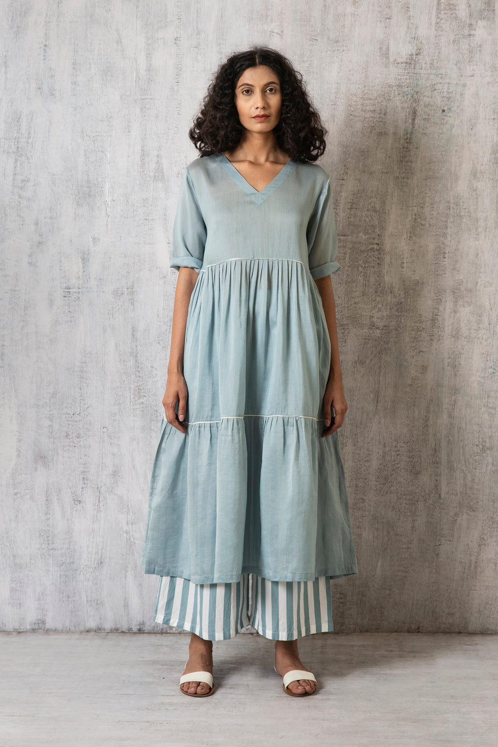 V Neck Frill Dress Co-ord- Cloudless blue
