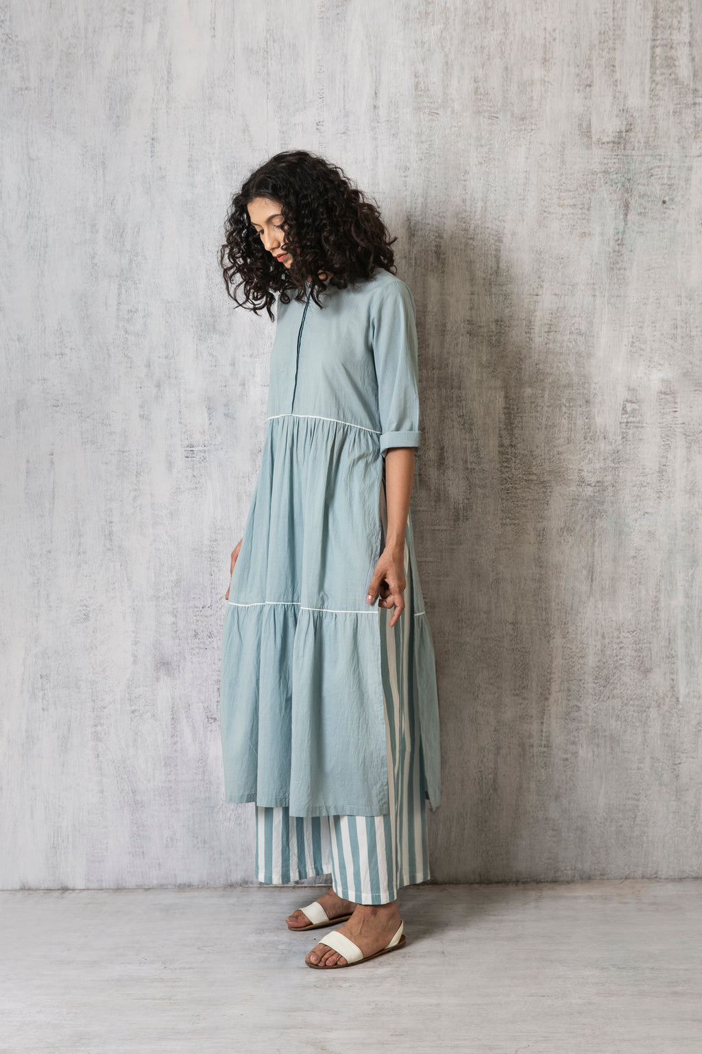 Frill Kurta Co-ord- Cloudless Blue