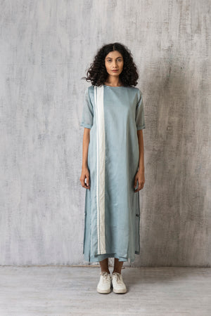 Double Layer Dress with stripe- Cloudless Blue