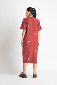 Front Slit Dress- Madder Red