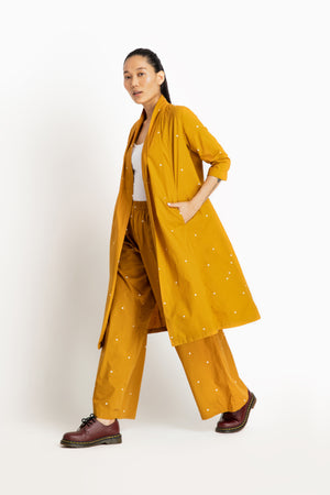 Wrap Collar Overlay Co ord- Tuscany Yellow Polka