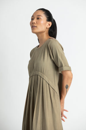 Yoke Gather Dress- Sage